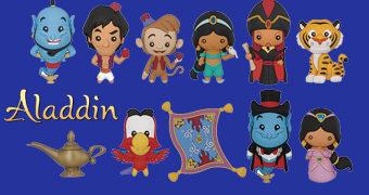 Chaveiros 3D Monogram Aladdin com Gênio, Jasmine, Jafar, Lâmpada Mágica e Tapete Voador entre Outros