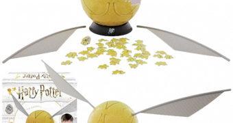 Quebra-Cabeça 3D Pomo de Ouro (Golden Snitch) Harry Potter