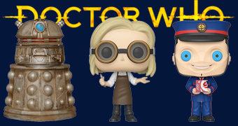 Doctor Who Pop! 13º Doctor com Óculos, Reconnaissance Dalek e Kerblam Man