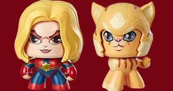 Bonecas Mighty Muggs Capitã Marvel e Gato Goose