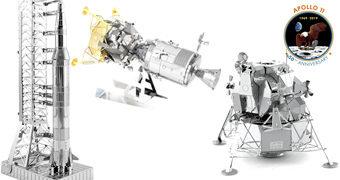 Kits Apollo 11 Metal Earth 50 anos do Pouso na Lua: Foguete Saturno V, Módulo de Comando e Serviço e o Módulo Lunar