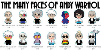As Muitas Faces de Andy Warhol Mini-Figuras Kidrobot Blind-Box