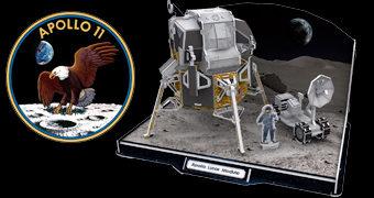 Quebra-Cabeça 3D 50 Anos do Pouso na Lua com Módulo Lunar Eagle, Veículo Explorador e Astronauta