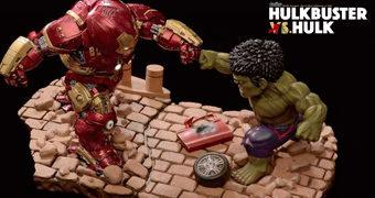Estátua Diorama Hulkbuster vs Hulk Egg Attack (Vingadores 2: Era de Ultron)