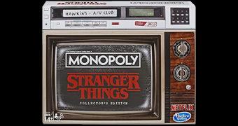 Jogo Monopoly Stranger Things Versão Colecionador em Caixa Imitando TV de Tubo e Videocassete