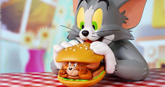 Tom & Jerry Busto Soap Studio: Tom Comendo Sanduíche Jerry Burger