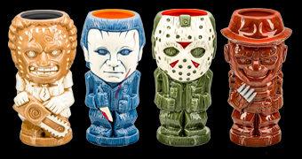 Canecas Geeki Tikis Filme de Terror: Leatherface, Michael Myers, Jason, Freddy Krueger, Pinhead, Ghostface, Jigsaw e Annabelle