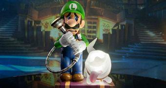 Estátua Luigi & Polterpup do Novo Game Luigi's Mansion 3