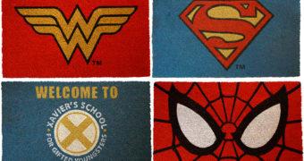 Capachos Marvel e DC Comics: Mulher Maravilha, Homem-Aranha, Superman e X-Men