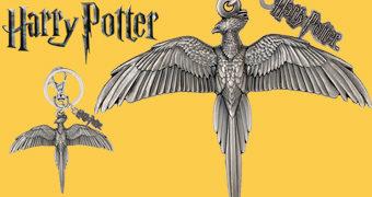 Chaveiro de Peltre da Fênix Fawkes de Dumbledore (Harry Potter)