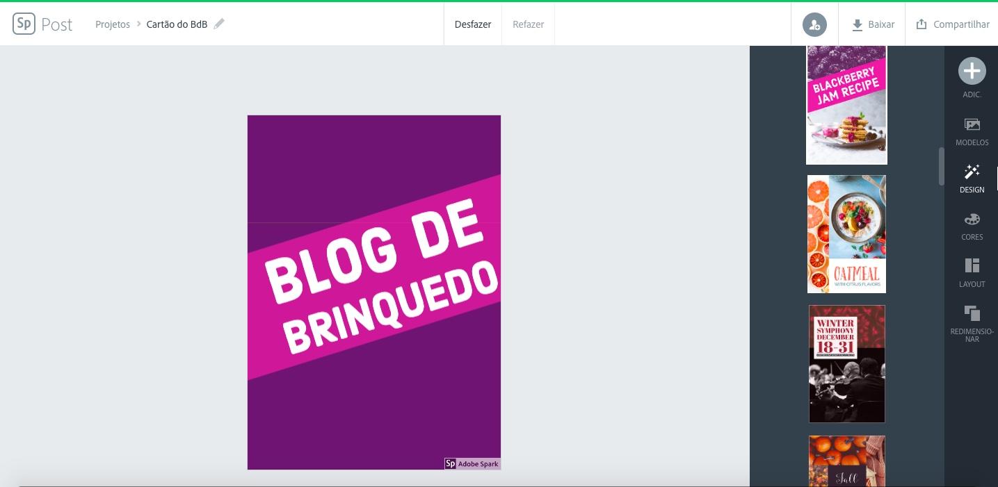Captura de tela do Adobe Spark para criação de cartões de visita