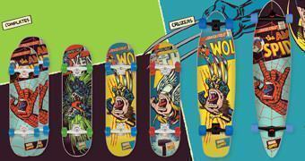 Skates Santa Cruz Screaming Hand Marvel: Thor, Homem-Aranha e Wolverine