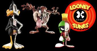 Bonecos Raio-X Looney Tunes XXRAY: Patolino, Diabo da Tasmânia e Marvin Marciano (Toy Art)