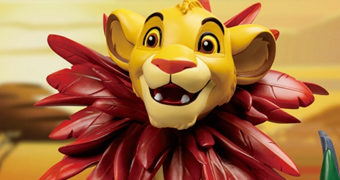 Simba Filhote com Juba de Folhas Master Craft – Estátua de Luxo O Rei Leão da Beast Kingdom