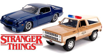 Carros de Metal 1:24 Hollywood Rides Stranger Things: Chevy Blazer e Camaro Z28