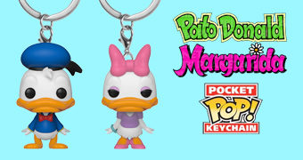 Chaveiros Pato Donald e Margarida Pocket Pop!