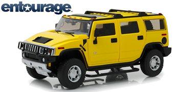 Carro Die-Cast da Série Entourage: Hummer H2 Amarelo em escala 1:18