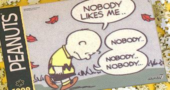 """Quebra-Cabeça Peanuts Charlie Brown Depressivo """"Ninguém Gosta de Mim"""""""