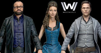 "Action Figures Westworld Select Line 7"" Série 2: Bernard, Teddy e Clementine"
