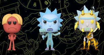 Bonecos Pop! Rick and Morty: Teddy Rick, Death Crystal Morty, Kirkland Meeseeks, Hologram Rick e Wasp Rick
