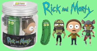 Jarro de Picles com Chaveiros Rick and Morty