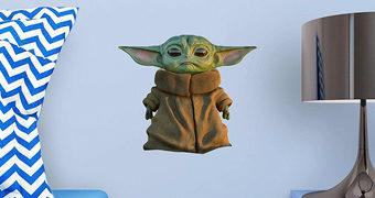 Adesivo de Parede Baby Yoda da Série The Mandalorian com 40cm de Altura