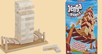 Jogo Jenga Bridge Equilibrado numa Ponte de Corda