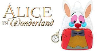 Mini-Mochila Peluda Coelho Branco de Alice no País das Maravilhas