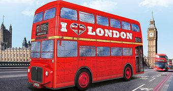 Quebra-Cabeça 3D Ônibus Londrino de Dois Andares