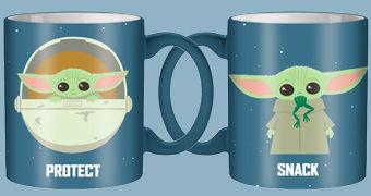 """Caneca Baby Yoda """"Proteger/Lanche/Ataque"""" (Star Wars: The Mandalorian)"""