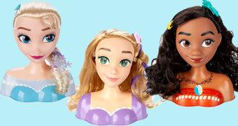 Cabeças Princesas Disney para Pentear: Elsa, Moana e Rapunzel