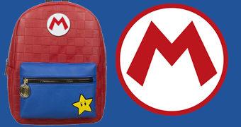 Mini-Mochila Super Mario Vermelha Quadriculada