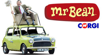 Carrinho British Leyland Mini com Mr. Bean Dirigindo do Teto