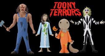 Toony Terrors: Beetlejuice, Reagan (Exorcista), Sam (Trick r Treat) e Victor Crowley (Hatchet) no Estilo Desenho Animado