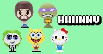 Nova Linha de Bonequinhos Kidrobot BHUNNY com Bob Ross, Bob Esponja, Donatello, Beetlejuice e Hello Kitty