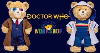 Ursos de Pelúcia Build-A-Bear Doctor Who com o 10º Doctor e a 13º Doctor