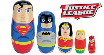 Bonecas Matryoshkas Liga da Justiça: Superman, Mulher Maravilha, Batman, Aquaman e Flash