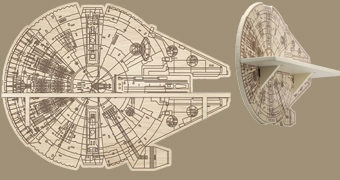 Prateleira de Madeira Star Wars Millennium Falcon Die Cut