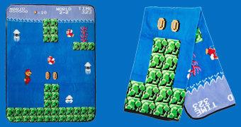 Cobertor Super Mario Nível Aquático com Bloopers e Cheep-Cheeps