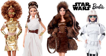 Bonecas Barbie Star Wars: C-3PO, Rey, Stormtrooper e Chewbacca