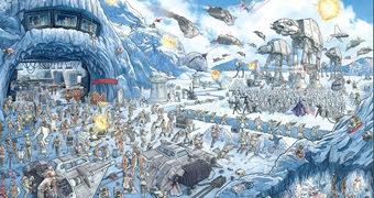 Quebra-Cabeça Star Wars Batalha de Hoth com 2.000 Peças e 12 Figuras Escondidas