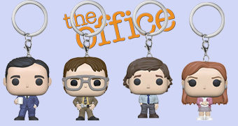 Chaveiros Funko Pocket Pop! da Série The Office: Michael Scott, Dwight, Pam e Jim