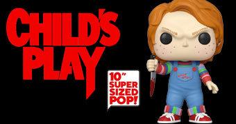 """Boneco Pop! Chucky, o Brinquedo Assassino Versão """"Super-Sized"""" com 25 cm de Altura"""