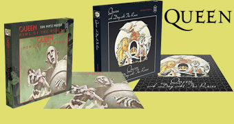 Quebra-Cabeças Queen Album Covers com 500 Peças: Queen II, Night at The Opera, Day at The Races e News of The World