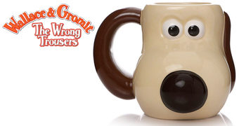 Caneca do Cão Gromit no Curta Wallace & Gromit: As Calças Erradas
