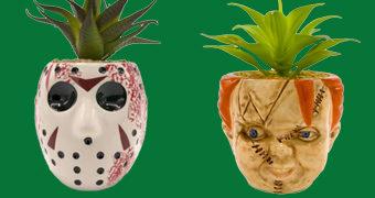 Vasos de Plantas Assustadores: Jason (Sexta-Feira 13) e Chucky (Brinquedo Assassino)
