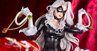 "Estátua Gata Negra (Black Cat) ""Steals Your Heart"" Marvel Bishoujo – Ilustração de Shunya Yamashita"