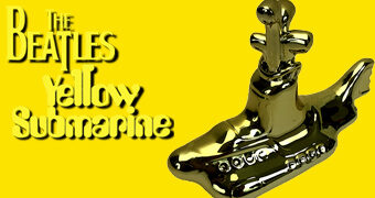 Estátua Metalizada The Beatles Yellow Submarine Chrome Art Statue (Dia Mundial do Rock)