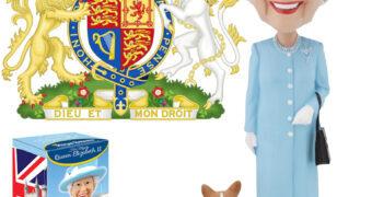 Rainha Elizabeth II com Cão Corgi Bobble Head