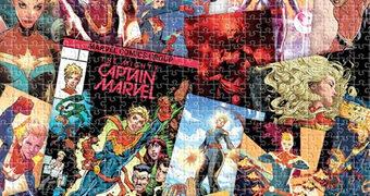 Quebra-Cabeça Capitã Marvel Colagem dos Quadrinhos com 1.000 Peças